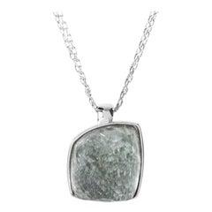 Superoro 18 Karat White Gold Green Amethyst Pendant Necklace