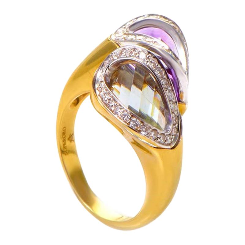 Superoro 18 Karat Yellow Gold Diamond and Green and Purple Amethyst Ring