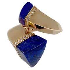 Superoro Italy Rose Gold Diamond and Lapis Bypass Ring