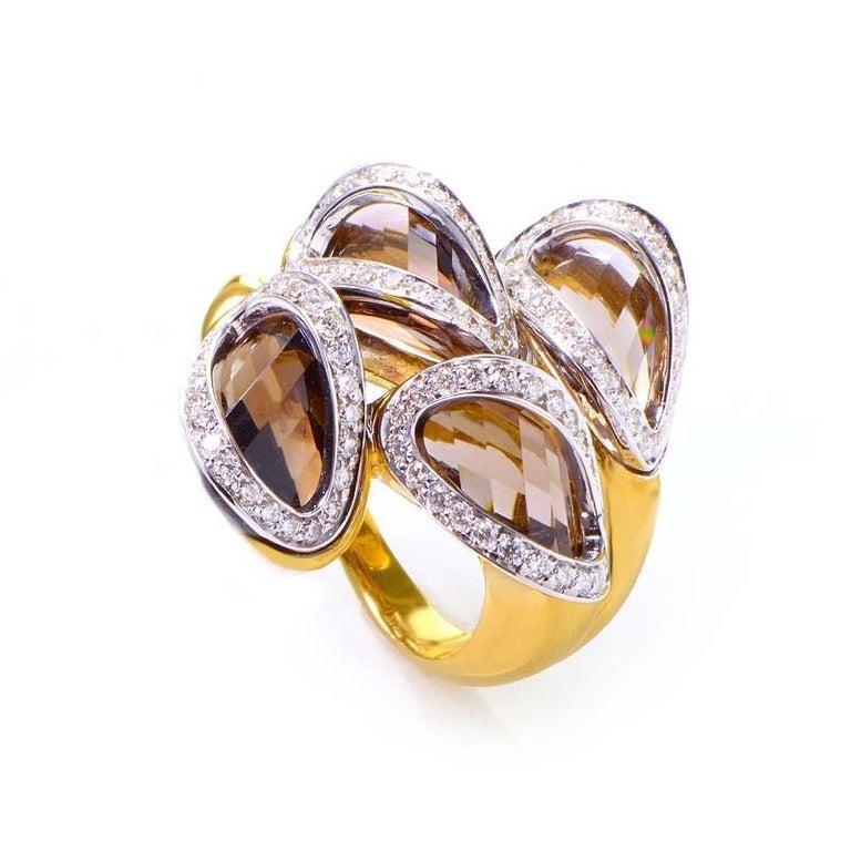 Women's Superoro Yellow Gold Smokey Topaz and Diamond Ring For Sale