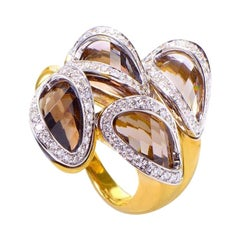 Superoro Yellow Gold Smokey Topaz and Diamond Ring