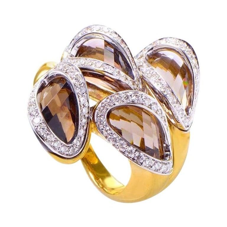 Superoro Yellow Gold Smokey Topaz and Diamond Ring For Sale