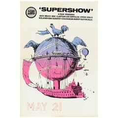 'Supershow' Led Zeppelin and Eric Clapton Original Movie Poster, British, 1969