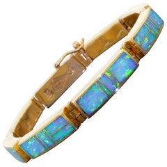 SuperSmith Tim Charlie 14K Gold Link Bracelet Navajo Blue Opal Inlay 27.1 Grams