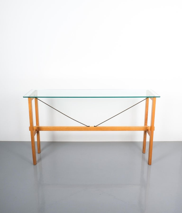 Mid-Century Modern Superstudio Console Table Wood and Glass Zanotta, Italy, circa 1980 For Sale