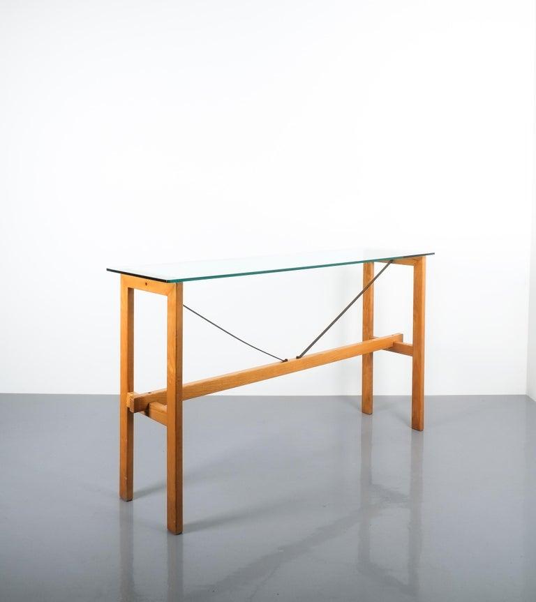 Italian Superstudio Console Table Wood and Glass Zanotta, Italy, circa 1980 For Sale