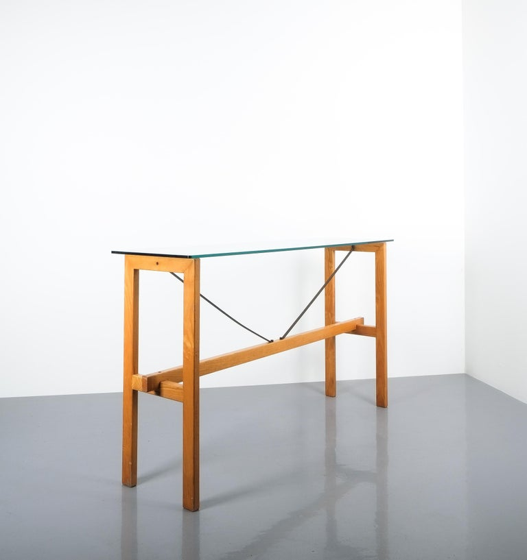 Superstudio Console Table Wood and Glass Zanotta, Italy, circa 1980 In Good Condition For Sale In Vienna, AT