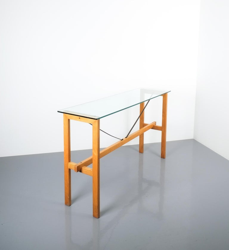 Late 20th Century Superstudio Console Table Wood and Glass Zanotta, Italy, circa 1980 For Sale