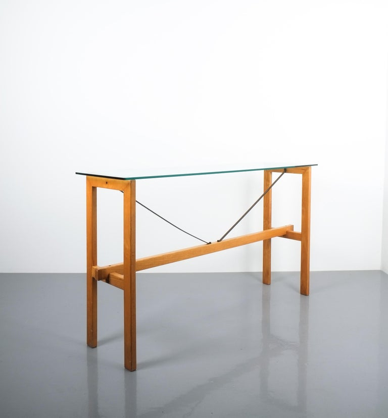 Superstudio Console Table Wood and Glass Zanotta, Italy, circa 1980 For Sale 3