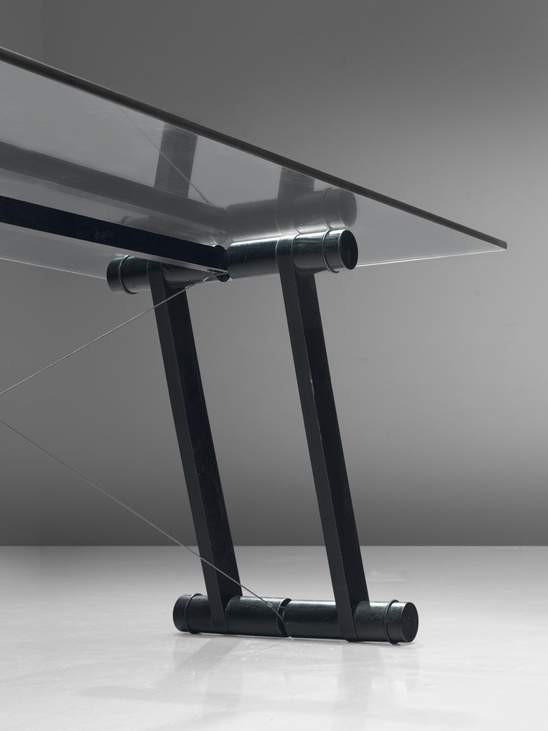 Mid-Century Modern Superstudio Dining Table 'Teso' with Glass Top and Metal Base For Sale