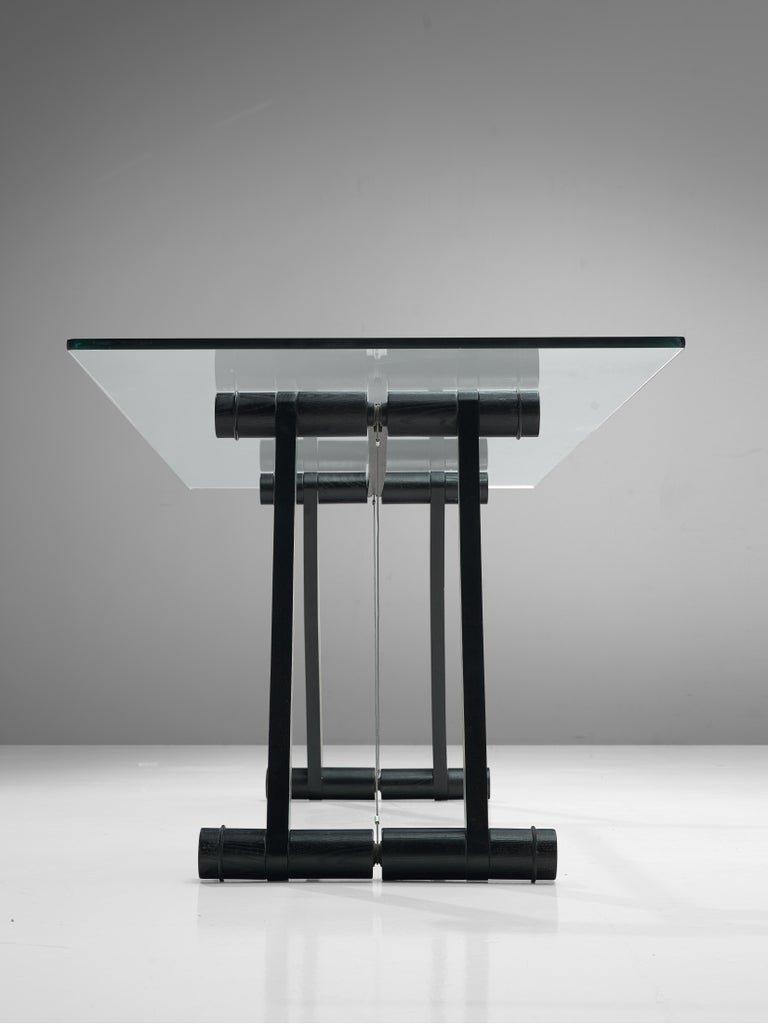 Italian Superstudio Dining Table 'Teso' with Glass Top and Metal Base For Sale