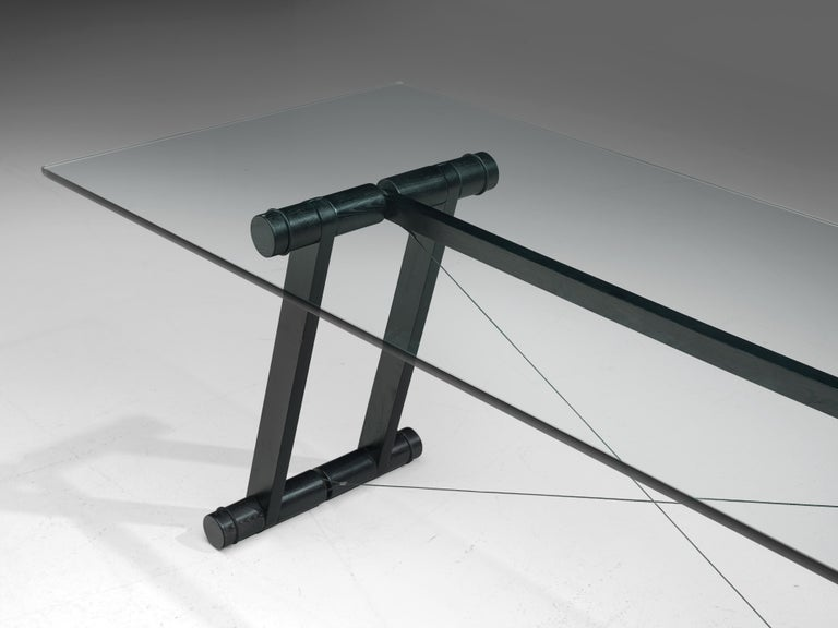 Late 20th Century Superstudio Dining Table 'Teso' with Glass Top and Metal Base For Sale