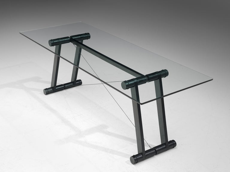 Superstudio Dining Table 'Teso' with Glass Top and Metal Base For Sale 1