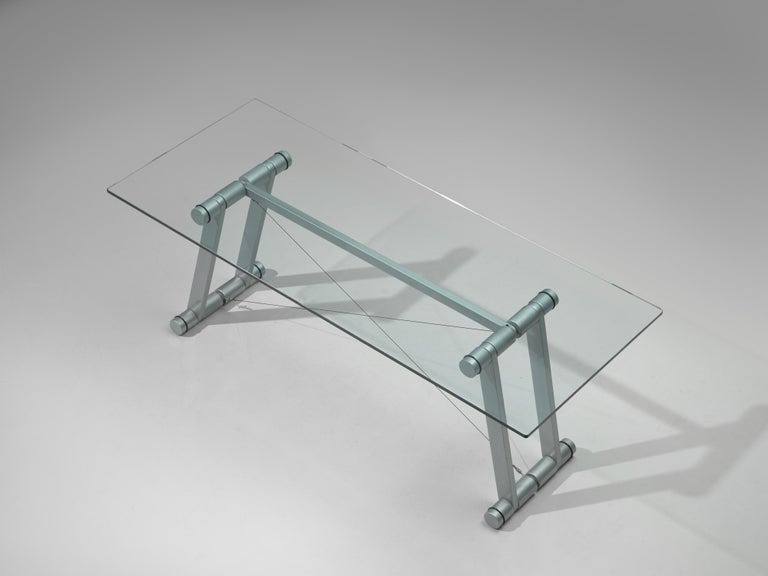 Superstudio Dining Table 'Teso' with Glass Top and Metal Base For Sale 2