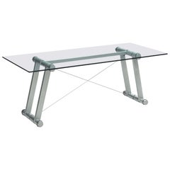 Superstudio Dining Table 'Teso' with Glass Top and Metal Base