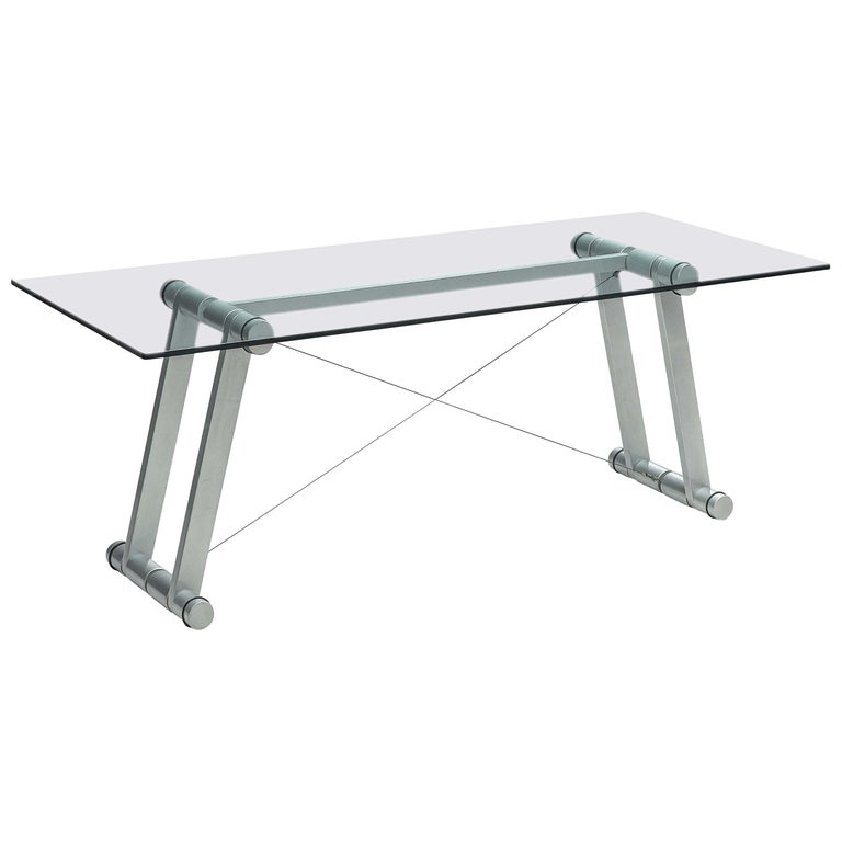 Superstudio Dining Table 'Teso' with Glass Top and Metal Base For Sale