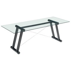 Superstudio Dining Table with Glass Top and Black Base