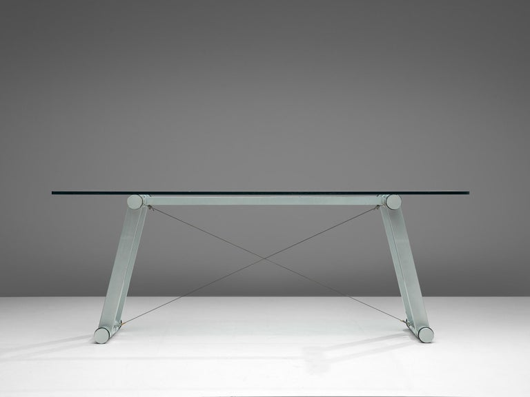 Mid-Century Modern Superstudio Dining Table with Glass Top and Metallic Base For Sale
