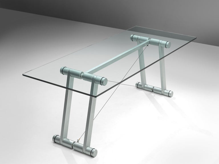 Italian Superstudio Dining Table with Glass Top and Metallic Base For Sale