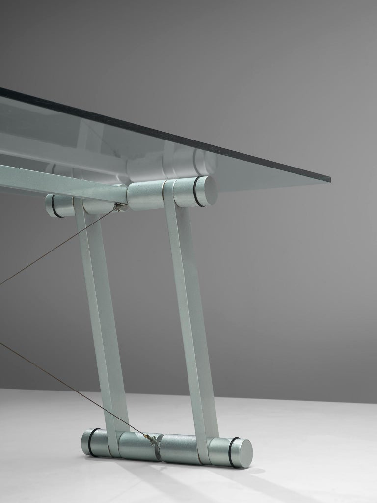 Superstudio Dining Table with Glass Top and Metallic Base In Good Condition For Sale In Waalwijk, NL