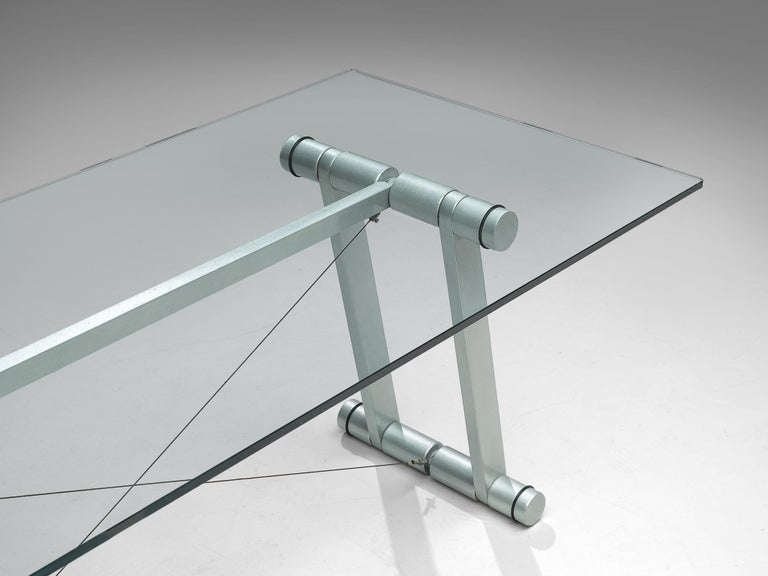 Late 20th Century Superstudio Dining Table with Glass Top and Metallic Base For Sale