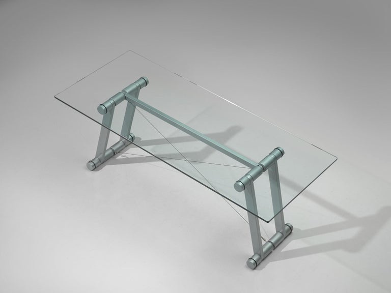 Superstudio Dining Table with Glass Top and Metallic Base For Sale 2