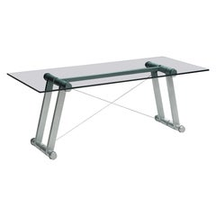 Superstudio Dining Table with Glass Top and Metallic Base