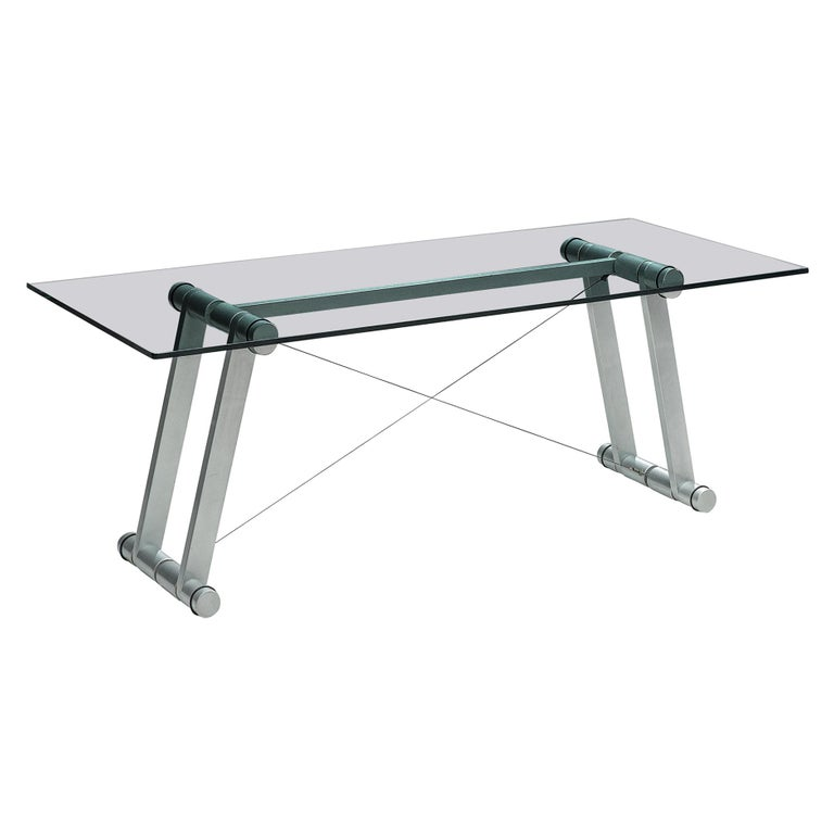 Superstudio Dining Table with Glass Top and Metallic Base For Sale