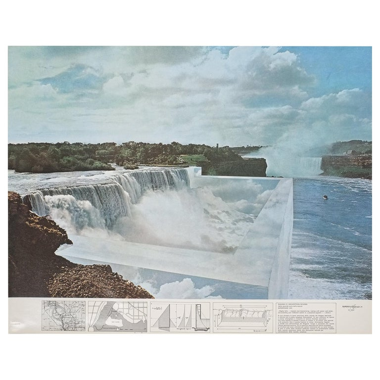 "Superstudio Lithograph ""Niagara o l'architettura riflessa"", 1970 For Sale"