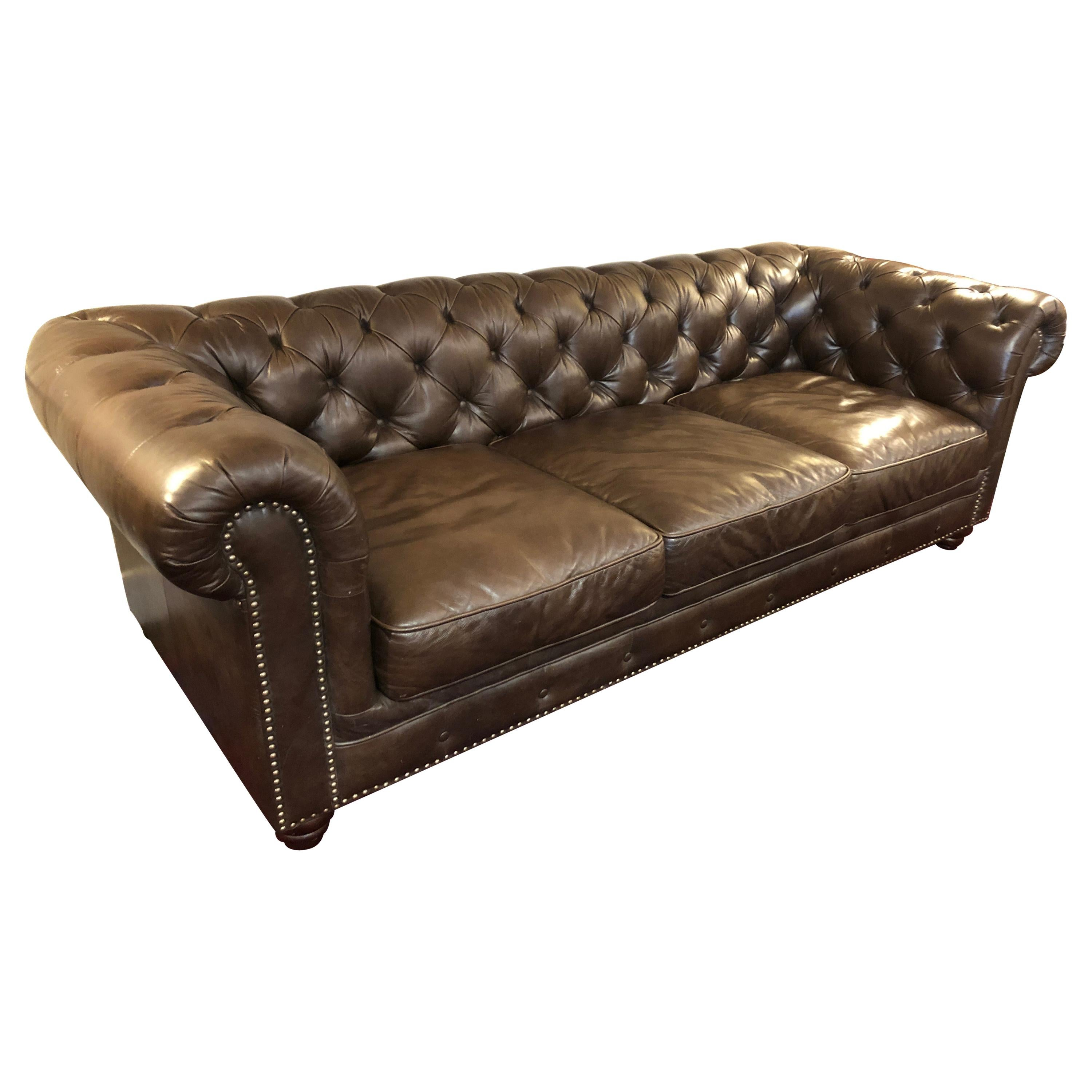 Astounding Supple Brown Leather Chesterfield Style Large Sofa Short Links Chair Design For Home Short Linksinfo