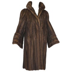 Supple Cognac Mink Hollywood Regency Swing Coat with Art Deco Cuffs - S-M, 1940s