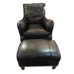 Supple Dark Charcoal Leather Club Chair and Ottoman