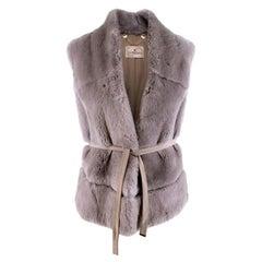 Suprema Grey Rabbit Fur Gilet - Size Medium
