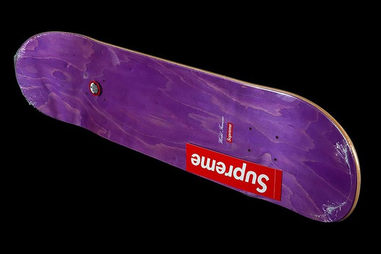 Mark Gonzales Supreme Skateboard Deck 2017:   Dimensions: 31.5 x 8 x 0.5 in. (80.01 x 20.32 cm).  Medium: Offset print on Maple Wood.  Printed artist signature & Supreme logo on reverse.  New in its original packaging, excellent overall condition.