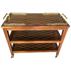 Supremely Elegant Italian Inlaid 3-Tier Bar Cart