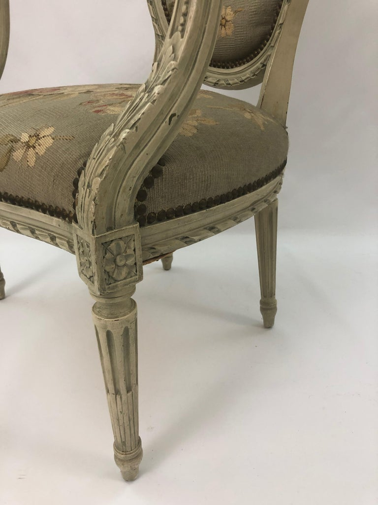 Supremely Pretty Louis XVI Style French Fauteuil Armchair For Sale 4