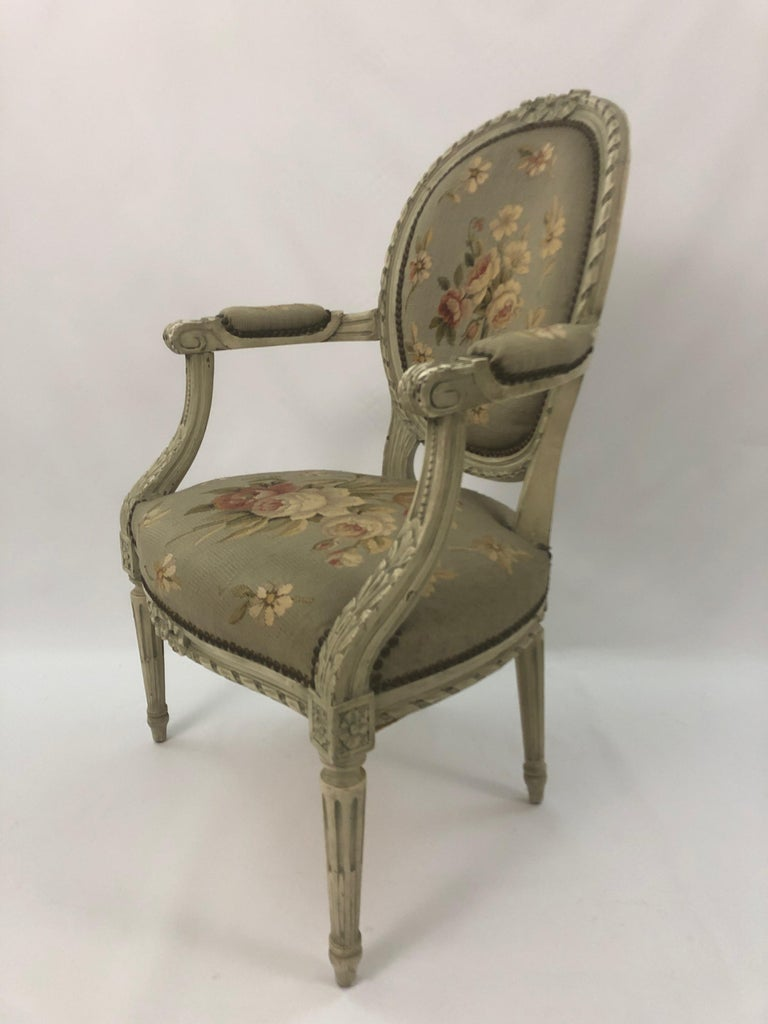 Supremely Pretty Louis XVI Style French Fauteuil Armchair For Sale 5