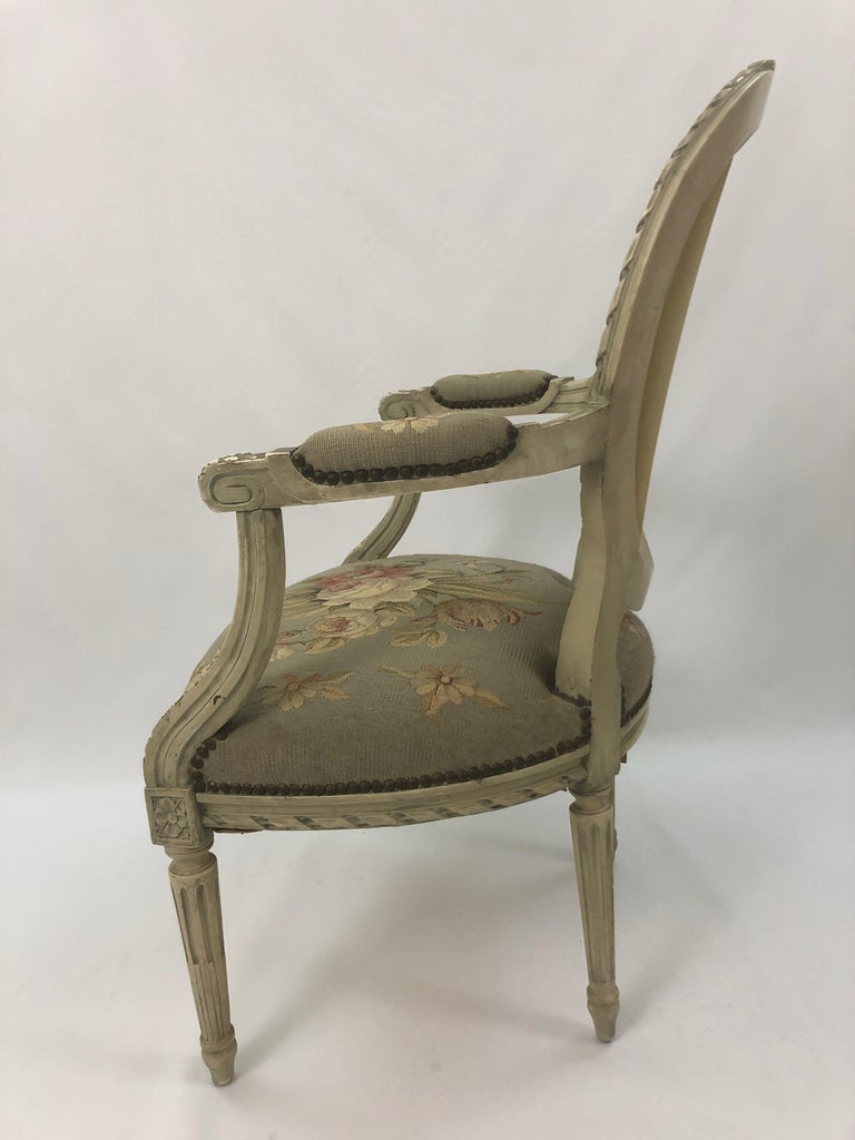 Supremely Pretty Louis XVI Style French Fauteuil Armchair For Sale 6