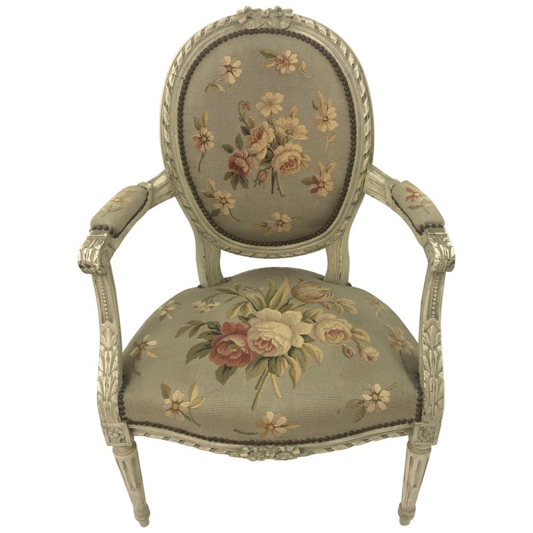 Supremely Pretty Louis XVI Style French Fauteuil Armchair For Sale