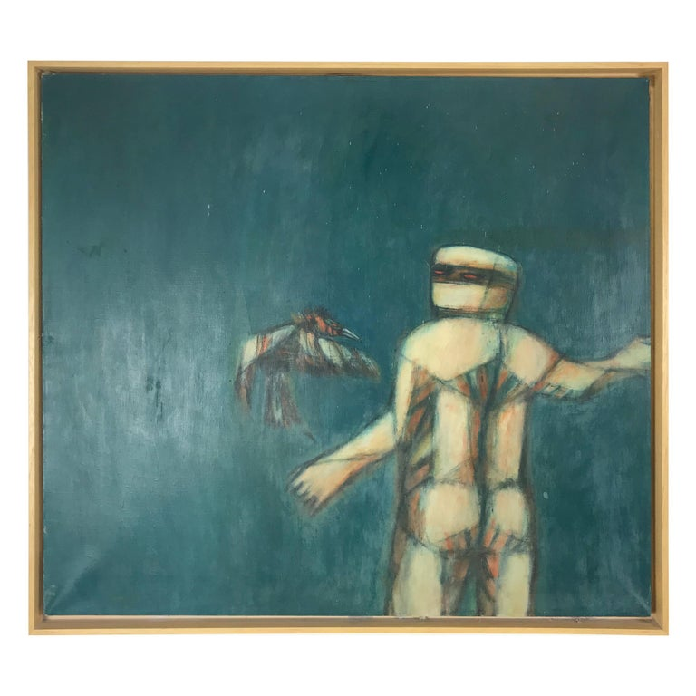"Surrealist Mixed Media Painting ""Man and Bird"" by Shizuye Takashima  For Sale"