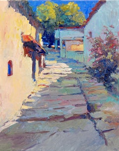 Early Evening on Old Street, Mediterranean Landscape, Oil Painting