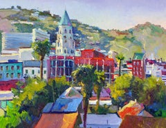 Hollywood, View from the Roof, Oil Painting