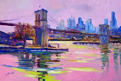 New York, Brooklyn Bridge (Pink Evening), Oil Painting