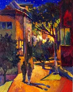 Night Walk in Suburbs, Oil Painting