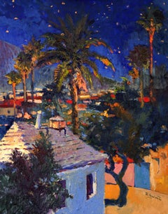 Old House and Palm Trees, Midnight