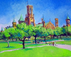 Smithsonian Castle in Washington DC, Noon, Oil Painting