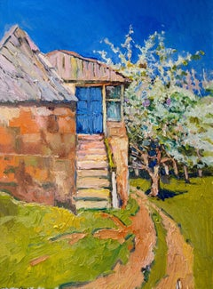 Spring and Old Farm House with Blue Door, Oil Painting