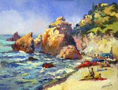 Sunny Day on The Beach, Pacific Ocean, Oil Painting
