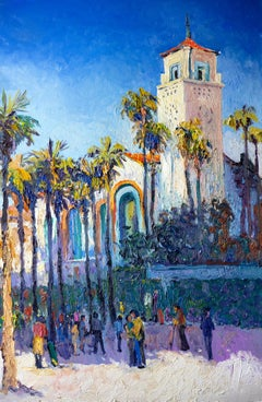 Union Station in Los Angeles, Sunny Day, Oil Painting
