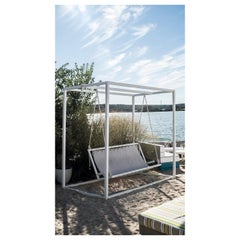Surf Lodge Swing Custom Modern Swinging Bench Crafted in Steel, Canvas & Rope